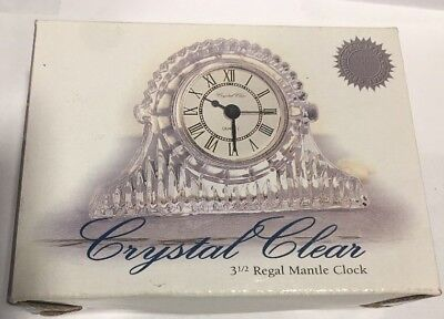 "Crystal Clear Industries 3.5"" Regal Mantle Clock NIB Genuine Lead Crystal"