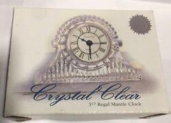"""Crystal Clear Industries 3.5"""" Regal Mantle Clock NIB Genuine Lead Crystal"""