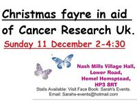 CHRISTMAS FAYRE AID OF CANCER RESEARCH UK SUN 11 DEC 2-4:30