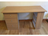Pine effect 3 drawer desk