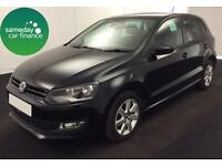 £123.14 PER MONTH BLACK 2012 VOLKSWAGEN POLO 1.2 MATCH 5 DOOR DIESEL MANUAL