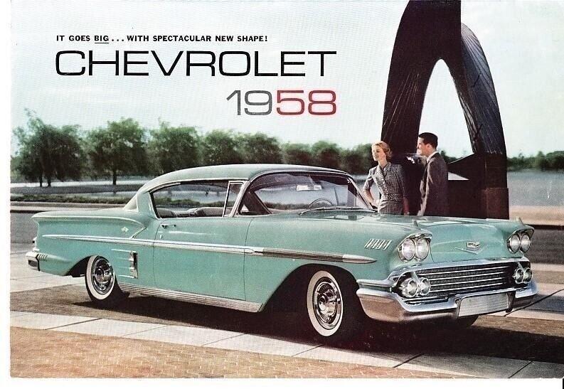 1958 Chevrolet Full Line Foldout Brochure Impala Bel Air Delray Corvette
