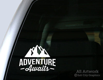 Adventure Awaits Decal (with Mountains) - Vinyl Car Window Sticker, Laptop Decal