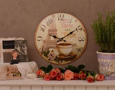 French Clock vintage style Eiffel Tower Paris kitchen clock quartz movement new
