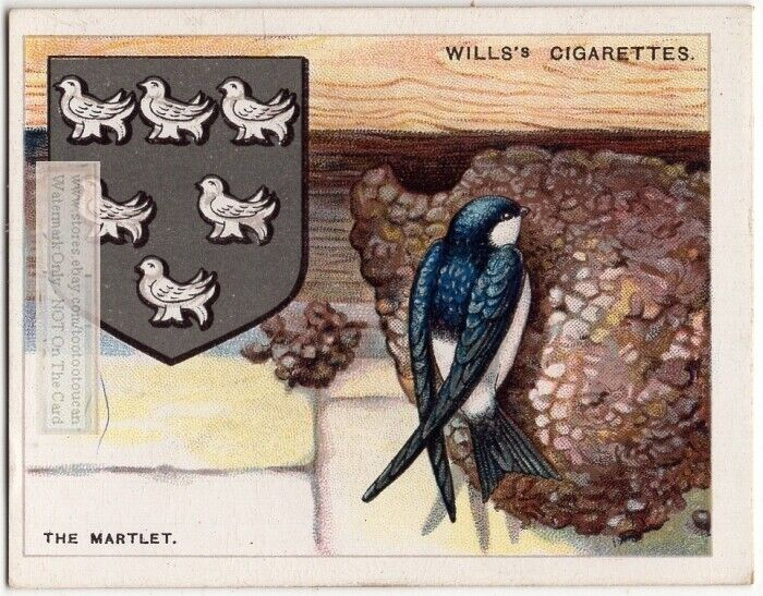 Marlet Swallow  Symbol Used On Coat Of Arms Or Family Crest 1920s Ad Card