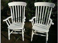 Pair of large pine farmhouse chairs painted ivory