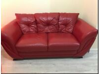 red leather 3 & 2 seater sofas