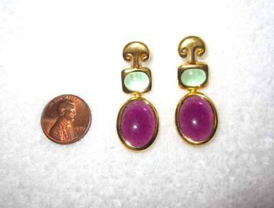 MMA Purple Green Glass Cabochon Earrings Metropolitan Museum Gold Plated Superb!