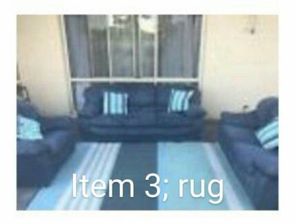 MOVING HOUSE SALE: BLUE STRIPED RUG