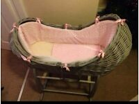 Grey & pink pod wicker moses basket, & stand