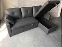 💕💕 BRAND NEW FABRIC CORNER SOFA BED WITH OTTOMAN STORAGE GREY COLOR SOFABED L SHAPE💕