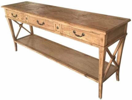 French Provincial Hall Table with 3 Drawers - Oak