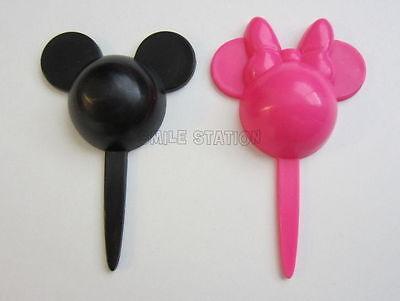 Mickey Mouse Cupcake Picks (12 Minnie & Mickey Mouse Cupcake Food Picks Pink Black Topper Kid Birthday)