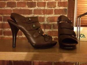 Coach brown sandal heels