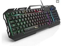 Gaming Keyboard, WisFox Colorful Rainbow LED Backlit