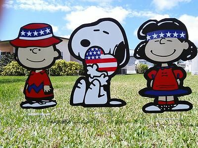 4th Of July Yard Decorations (garden outdoor Fourth of July Charlie Brown and Lucy lawn snoopy yard art)