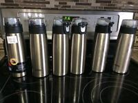 SIX Stainless Steel Water Bottles -- Thermos.