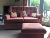 Sofa, chair and footstool. Traditional in style, comfortable and in very good condition.