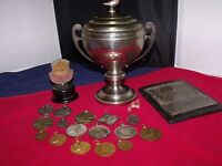 Racing pigeon trophy and medals 1930s