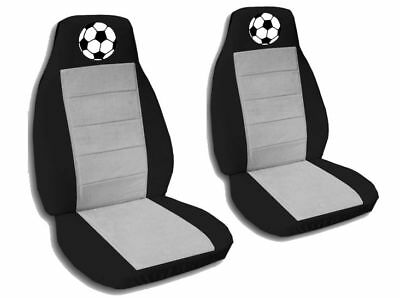 Soccer Seat - 2 Front Black and Silver Soccer Ball Seat Covers Universal Seat Covers