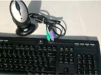 Logitech Cordless Rechargeable Desktop (Keyboard+Mouse+Dock) USB + PS2