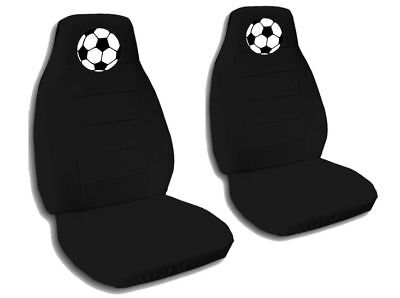 Soccer Seat - 2 Front Black Soccer Ball Seat Covers Universal Size