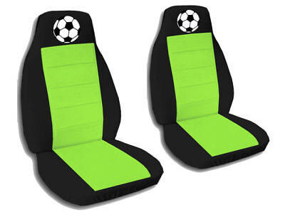 Soccer Seat - 2 Front Black and Lime Green Soccer Ball Seat Covers Universal Size