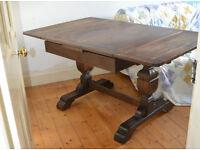 extendable oak dining table, dark varnish