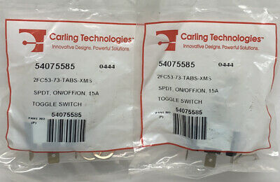 Lot Of 2 Carling Technologies 2fc53-73-tabs-xms Quick Connect Toggle Switch