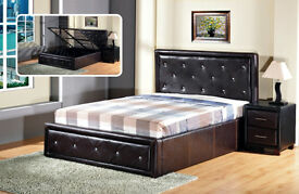 BRAND NEW DOUBLE DIAMOND LEATHER OTTOMAN STORAGE BED FRAME, OPTION SUPER ORTHOPAEDIC MATTRESS (4FT6)