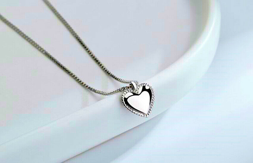 Jewellery - Smooth Heart Pendant 925 Sterling Silver Jewellery Necklace Chain Women gifts UK