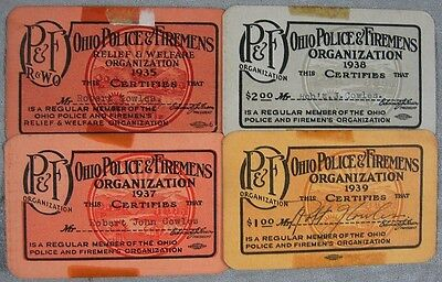 Lot of 4 1930's Ohio Police & Firemens Organization Card Robert Cowles