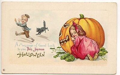 Halloween Hide n' Seek Children Pumpkin J.O.L. Embossed Postcard](Halloween Hide N Seek)