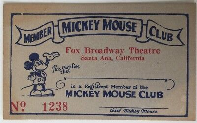 1930's Mickey Mouse Theater Club Card Unsed