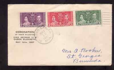 Newfoundland 1937 FDC 1st day cover to Bermuda KGVI coronation St. John's cancel