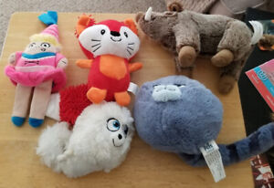 Various plush dog toys