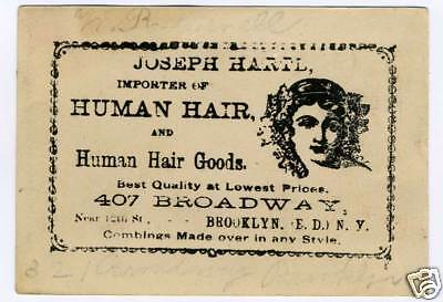 Rare 1880s Trade Card Brooklyn NY Hair Jewelry Wigs