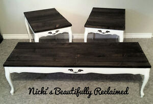 Wood coffee and end table set