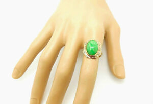 Apple Green Jade Cabochon Art Deco  10K SOLID GOLD RING 1920'