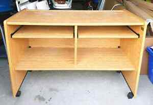 Computer Desk with Shelf Dual Keyboards *Solid Oak $120