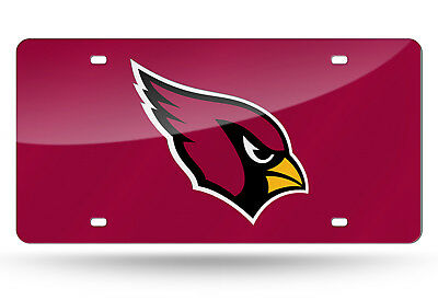 Arizona Cardinals RED Deluxe Laser Cut Acrylic Inlaid License Plate Tag Football Arizona Cardinals Red Laser
