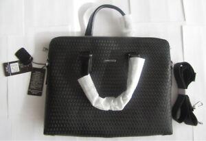 Men's Briefcase Woven Pattern Genuine Leather Shoulder Bag