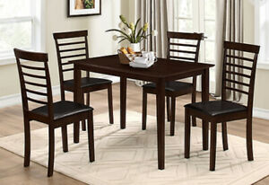 Brand new Espresso Wood 5 pc Dinette set on sale for $378 only!!