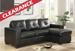 Bonded Leather Reversible Sectional Ottoman with 2 Pillows