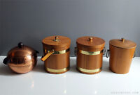 VINTAGE TEAK ICE BUCKETS IN GREAT CONDITION $30 EACH