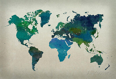 World Map Watercolor  Cool  Poster Print  19X13