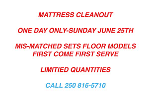 ONE DAY MATTRESS CLEANOUT-JUNE 25TH