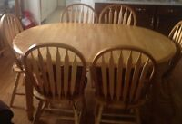 Dining room table & chairs solid bamboo wood