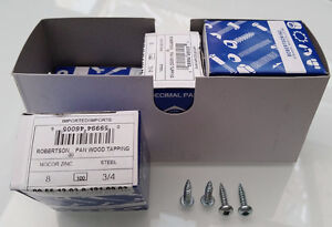 """Screws, pan wood tapping Robertson #2, 8 x ¾"""" NEW/box only $15"""
