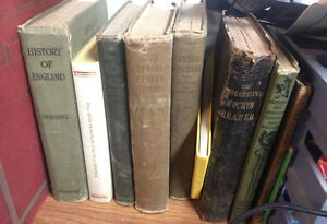 1954 Webster's Dictionary & Antique School Books